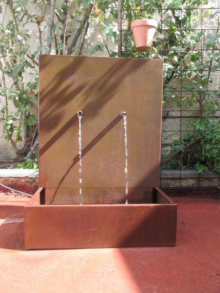 fuente pilón de 2 caños de acero corten
